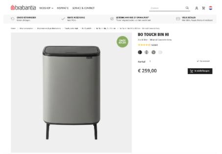 Brabantia prullenbak Bo Touch Bin Hi 2 x 30 liter in mineral concrete grey